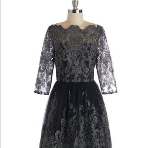 NWT MODCLOTH Gilded Grace Tea Length Gown in Black